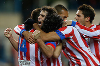 13.01.2013 SPAIN -  La Liga 12/13 Matchday 19th  match played between Atletico de Madrid vs Real Zaragoza (2-0) at Vicente Calderon stadium. The picture show  Tiago Cardoso Mendes (Brazilian defender of At. Madrid) celebrating his team's goal