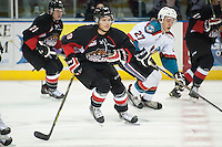 KELOWNA, CANADA - SEPTEMBER 5: Brad Morrison #9 of Prince George Cougars skates against the Kelowna Rockets on September 5, 2015 during the first pre-season game at Prospera Place in Kelowna, British Columbia, Canada.  (Photo by Marissa Baecker/Shoot the Breeze)  *** Local Caption *** Brad Morrison;