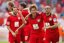 10.08.2013, BayArena, Leverkusen, GER, 1. FBL, Bayer 04 Leverkusen vs SC Freiburg, 1. Runde, im Bild Torjubel mit Heung-Min Son #7 (Bayer 04 Leverkusen) und Sidney Sam #18 (Bayer 04 Leverkusen) // during the German Bundesliga 1st round match between Bayer 04 Leverkusen and SC Freiburg at the BayArena, Leverkusen, Germany on 2013/08/10. EXPA Pictures © 2013, PhotoCredit: EXPA/ Eibner/ Grimme<br /> <br /> ***** ATTENTION - OUT OF GER *****