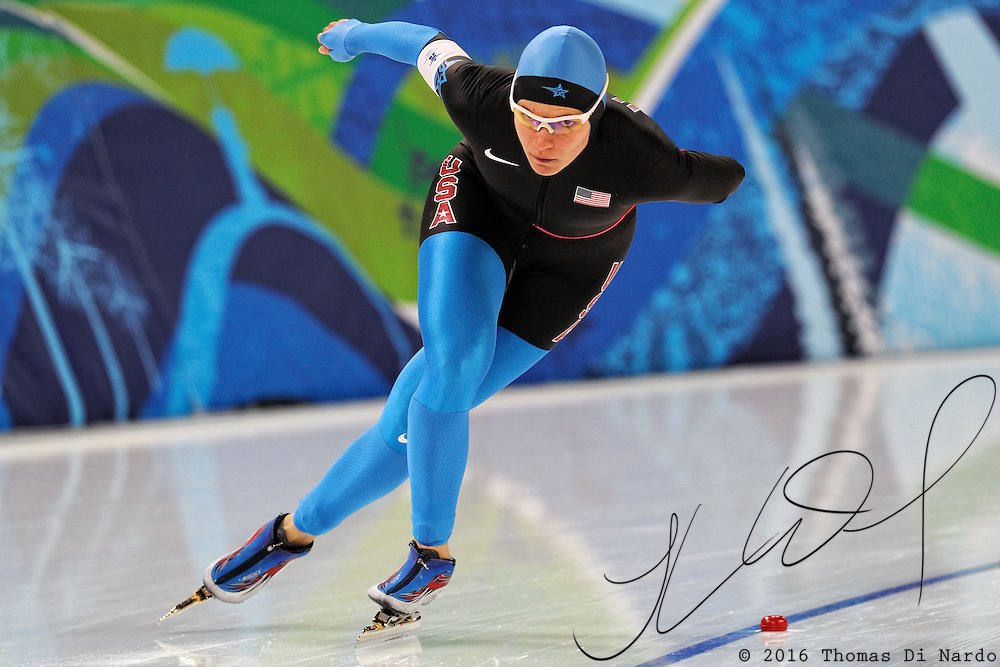 February 14, 2009 - 2010 Winter Olympics - Speedskating - Women's 3000m - Catherine Raney-Norman competes in the 3000m distance at the Richmond Olympic Oval.