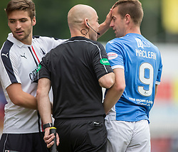 Falkirk's Luke Leahy and St Johnstone's Steven MacLean. St Johnstone 3 v 0 Falkirk, Group B, Betfred Cup, played 23/7/2016 at St Johnstone's home ground, McDiarmid Park.