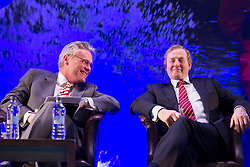 24/05/2013. An Taoiseach, Enda Kenny, T.D. is pictured with Mark Cunningham, Director, Bank of Ireland Business Banking with at the Bank's conference, 'Building Business Momentum'. Attended by approximately 800 SMEs from the Dublin region, it looked at future growth across key sectors in the Irish economy and marked the conclusion of a series of business events nationwide as part of Bank of Ireland's 8th National Enterprise Week..Other speakers at the event included Pat McCann, Chief Executive, Dalata Hotel Group, Eleanor Nash, Group Head of Human Resources, Eason and Son Ltd., Oliver Tattan, CEO, Insurance Regulatory Capital, Professor Peter Cooke, Professor of Automotive Management, The University of Buckingham,  Mark FitzGerald, Chief Executive,  Sherry FitzGerald Group and Kingsley Aikins, Principal, Diaspora Matters. Picture Andres Poveda