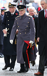 The Duke of Edinburgh arriving at the Menin Gate in Ypres, Belgium, at a ceremony on Armistice Day to mark the gathering of soil for the Flanders Fields Memorial Garden at the Guards Museum in London, Monday, 11th November 2013. Picture by Stephen Lock / i-Images