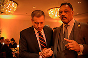 "Photo by Matt Roth.Assignment ID: 10137379A..News anchor Brian Williams and Reverend Jesse Jackson talk during an inaugural ""Bi-Partisan Celebration"" hosted by Buffy and Bill Cafritz, Ann and Vernon Jordan, Vicki and Roger Sant's at the Dolley Madison Ballroom at the Madison Hotel in Washington, D.C. on Monday, January 21, 2013."