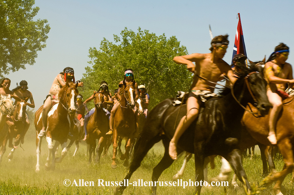 Indian warriors attack General George Custer, 7th Cavalry, Battle of the Little Bighorn Reenactment, Crow Indian Reservation, Montana