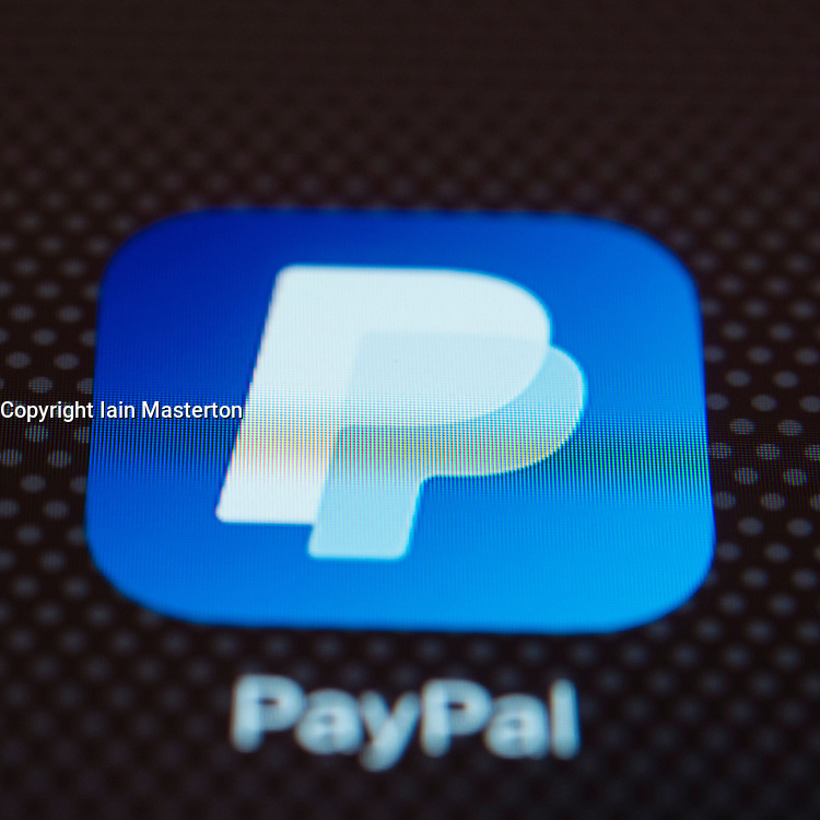 Paypal online banking app close up on iPhone smart phone screen