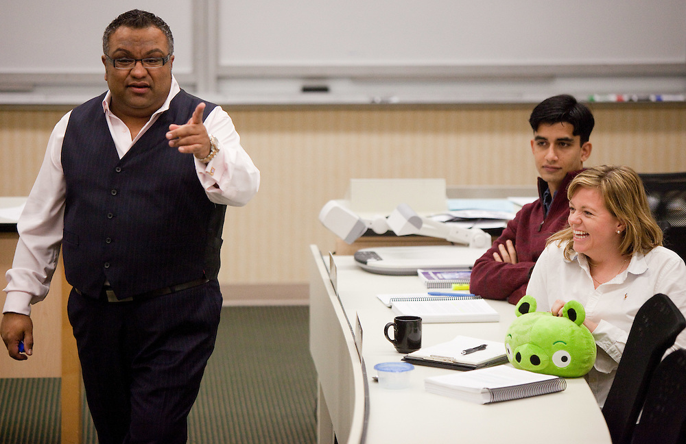 London, Ontario ---11-10-19--- Ariff Kachra, Strategy Professor at the Richard Ivey School of Business in London, Ontario jokes with his class October 19, 2011. Professor Kachra uses innovative teaching methods like the use of stuffed animals to illustrate points in his class.<br /> GEOFF ROBINS The Globe and Mail