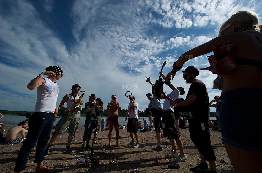 14138708- RUISROCK, FINLAND - JULY 10: Fleet Foxes  performs at The Ruisrock Festival on July 10, 2011 in Turku, Finland.