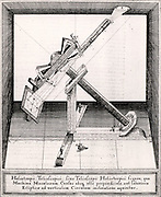 Refracting telescope on a very simple equatorial mounting being used in a darkened room (camera obscura) in order to project the Sun's image so that sunspots could be studied. From 'Rosa Ursina' by Christoph Scheiner (Bracciano, 1630). Engraving.