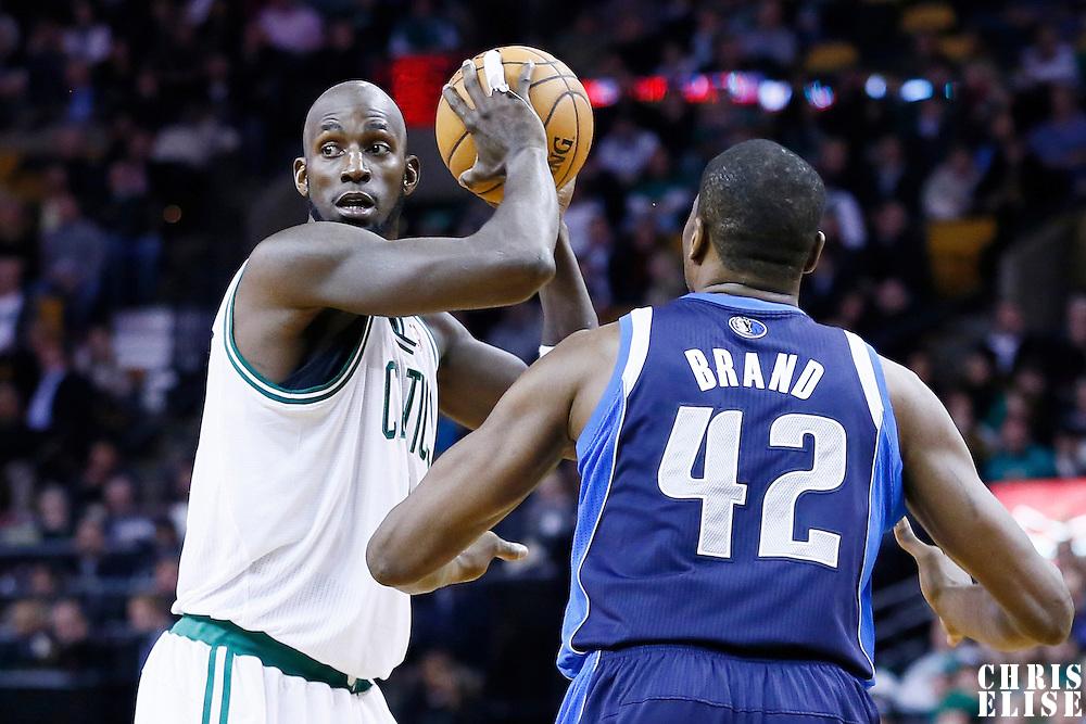 12 December 2012: Boston Celtics power forward Kevin Garnett (5) looks to pass the ball during the Boston Celtics 117-115 2 overtimes victory over the Dallas Mavericks at the TD Garden, Boston, Massachusetts, USA.