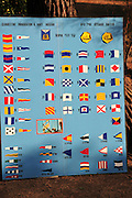Israel, Haifa, The Clandestine Immigration and Navy Museum. Naval signal code flags lookup chart