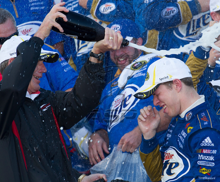 Dover, DE - SEP 30, 2012: Brad Keselowski (2) in Victory Lane after winning the AAA 400 at Dover International Speedway in Dover, DE.