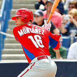 March 11, 2012; Tampa Bay, FL, USA; Philadelphia Phillies right fielder Luis Montanez (16) against the New York Yankees during a spring training game at George M. Steinbrenner Field. Mandatory Credit: Derick E. Hingle-US PRESSWIRE