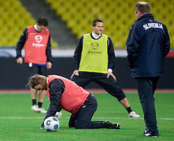 Nejc Pecnik at practice of Slovenian team a day before FIFA World Cup 2010 Qualifying match between Russia and Slovenia, on November 13, 2009, in Stadium Luzhniki, Moscow, Russia.  (Photo by Vid Ponikvar / Sportida)