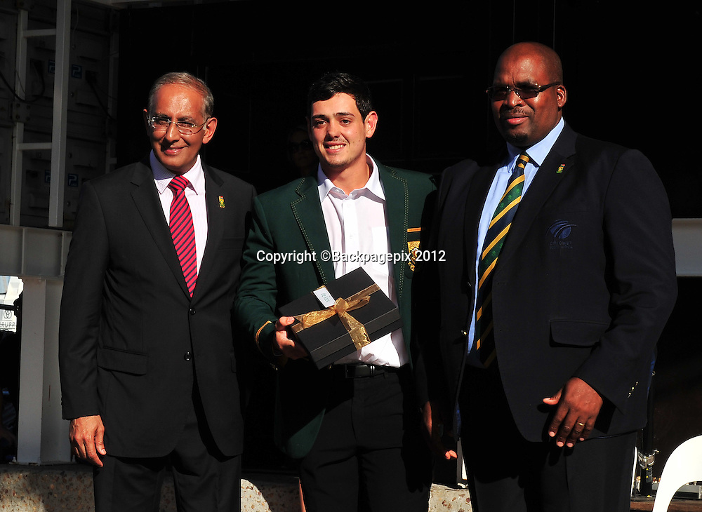 Haroon Lorgat (Cricket South Africa CEO), Quentin de Kock and Chris Nenzani (President of Cricket South Africa) during the 2015 Cricket World Cup Protea squad announcement  at the V&A Waterfront, Cape Town on 7 January 2015 ©Ryan Wilkisky/BackpagePix