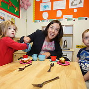 Scottish Labour leader visits nursery. Kezia Dugdale (C) during a visit to Castlemilk Stables nursery in Glasgow to mark the deadline John Swinney set for Scottish councils to meet new funding deal. With children Anastacia Polydorou (L) and Roscoe Blackett (R). Picture Robert Perry 9th Jan 2016<br /> <br /> Must credit photo to Robert Perry<br /> FEE PAYABLE FOR REPRO USE<br /> FEE PAYABLE FOR ALL INTERNET USE<br /> www.robertperry.co.uk<br /> NB -This image is not to be distributed without the prior consent of the copyright holder.<br /> in using this image you agree to abide by terms and conditions as stated in this caption.<br /> All monies payable to Robert Perry<br /> <br /> (PLEASE DO NOT REMOVE THIS CAPTION)<br /> This image is intended for Editorial use (e.g. news). Any commercial or promotional use requires additional clearance. <br /> Copyright 2014 All rights protected.<br /> first use only<br /> contact details<br /> Robert Perry     <br /> 07702 631 477<br /> robertperryphotos@gmail.com<br /> no internet usage without prior consent.         <br /> Robert Perry reserves the right to pursue unauthorised use of this image . If you violate my intellectual property you may be liable for  damages, loss of income, and profits you derive from the use of this image.