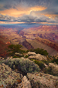 A storm clears in the minutes after sunrise. From the South Rim of the Grand Canyon near Lipan Point.