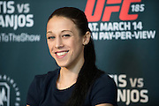 DALLAS, TX - MARCH 12:  Joanna Jedrzejczyk speaks with the media during the UFC 185 Ultimate Media Day at the American Airlines Center on March 12, 2015 in Dallas, Texas. (Photo by Cooper Neill/Zuffa LLC/Zuffa LLC via Getty Images) *** Local Caption *** Joanna Jedrzejczyk