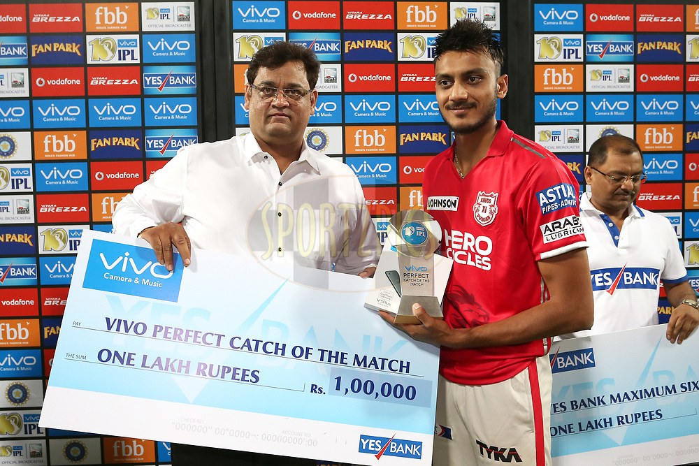 Akshar Patel of Kings XI Punjab receives the Vivo Perfect Catch of the Match Award during match 4 of the Vivo 2017 Indian Premier League between the Kings XI Punjab and the Rising Pune Supergiant held at the Holkar Cricket Stadium in Indore, India on the 8th April 2017<br /> <br /> Photo by Shaun Roy - IPL - Sportzpics