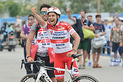 September 13, 2016 - Pingchang, China - Happy Mattia De Marchi from Androni Giocattoli team celebrates his win in the fourth stage, 157.57 km from Bazhong to Pingchang, during the 2016 Tour of China 1...On Tuesday, 13 September 2016, in Pingchang, China. (Credit Image: © Artur Widak/NurPhoto via ZUMA Press)