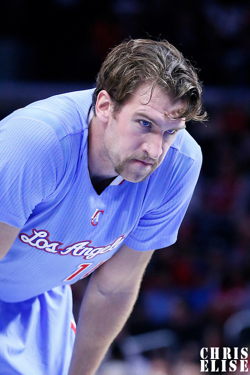 02 November 2014: Los Angeles Clippers forward Spencer Hawes (10) rests during the Sacramento Kings 98-92 victory over the Los Angeles Clippers, at the Staples Center, Los Angeles, California, USA.