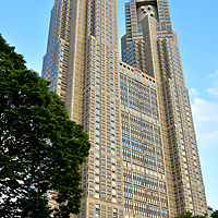 Tokyo Metropolitan Government Building in Tokyo, Japan<br /> Tokyo Metropolitan Government Building is a popular attraction because each of its 797 foot towers offer an observation deck on the 45 floor for spectacular, panoramic views of Tokyo. Less known by tourists is the origin of the Tochō complex. The three buildings were designed by Kenzō Tange, Japan&rsquo;s most celebrated and accomplished architect of the 20th century and winner of the Pritzker Architecture Prize.
