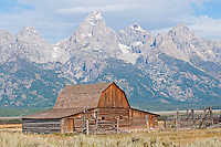 Moulton Ranch barn and the Teton Range in Grand Teton National Park, Wyoming.