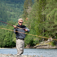 Flyfishing in river Orkla, Rennebu, Norway<br /> Model name: Stefan Enevoldsen-Model release form valid by photographer