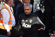 (Caption Correction) Manchester United manager Jose Mourinho arriving at the Vitality Stadium before the Premier League match between Bournemouth and Manchester United at the Vitality Stadium, Bournemouth, England on 18 April 2018. Picture by Graham Hunt.