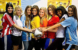 30-06-2010 VOETBAL: FIFA WORLDCUP 2010 MISS WORLD PENALTY SHOOTOUT: JOHANNESBURG<br /> Miss Paraguay - Tamara Sosa-Zapattini, Germany - Maike Frohlingsdorf, Argentina -Mae Screlkove, Brazil- Luciana Reis, Netherlands - Francis Beukevelb, Spain - Laura Garcia-Fernandez, Ghana - Mimi Areme and Uruguay - Eliana Oliveria- Gonnet at Miss World contestants from the quarter finals FIFA World Cup 2010 at AIPS glamour event<br /> ©2010-FRH- NPH/ Vid Ponikvar (Netherlands only)