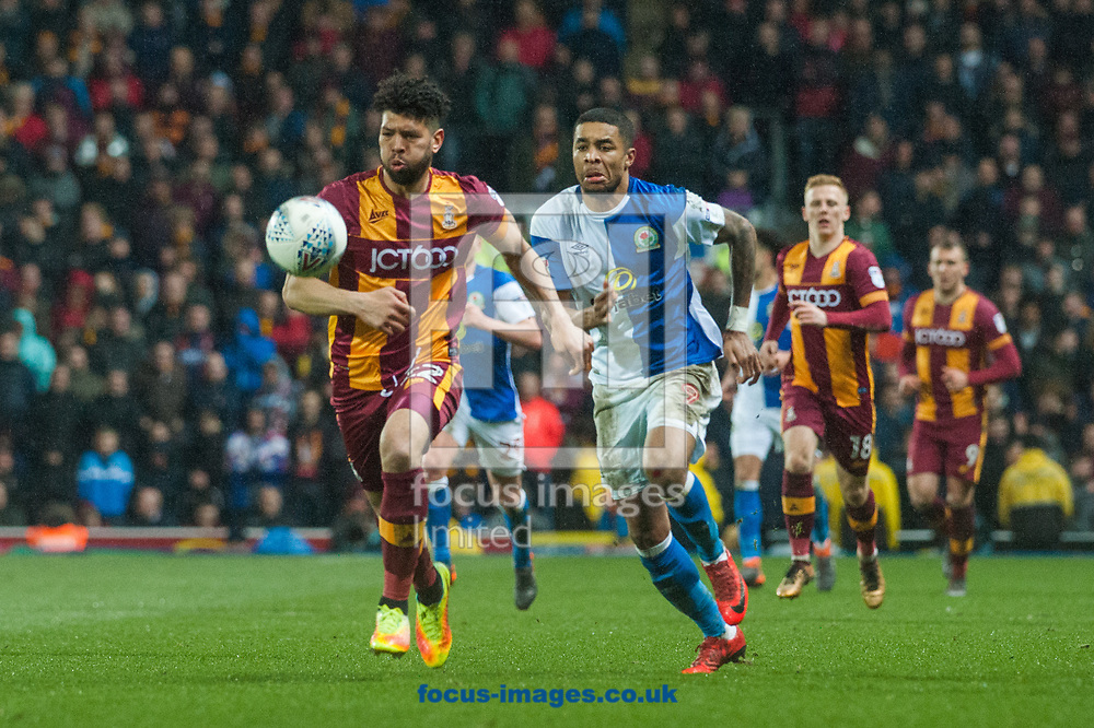 Dominic Samuel of Blackburn Rovers chases down \Nat Knight-Percival of Bradford City during the Sky Bet League 1 match at Ewood Park, Blackburn<br /> Picture by Matt Wilkinson/Focus Images Ltd 07814 960751<br /> 29/03/2018