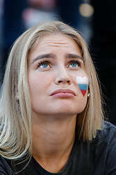June 25, 2018 - Saint Petersburg, Russia - Russia supporter react during the FIFA World Cup 2018 match between Russia and Uruguay on June 25, 2018 at Fan Fest zone in Saint Petersburg, Russia. (Credit Image: © Mike Kireev/NurPhoto via ZUMA Press)