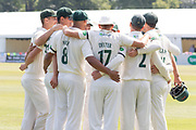 Leicestershire group huddle during the Specsavers County Champ Div 2 match between Gloucestershire County Cricket Club and Leicestershire County Cricket Club at the Cheltenham College Ground, Cheltenham, United Kingdom on 16 July 2019.