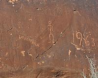 Sand Island Petroglyphs + Modern Graffiti. Image taken with a Nikon D3 and 70-200 mm f/2.8 VR lens (ISO 200, 70 mm, f/11, 1/250 sec)