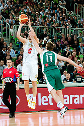 Samo Udrih of Union Olimpija vs Zoran Dragic of Krka during second semi-final match of Basketball NLB League at Final four tournament between KK Union Olimpija and Krka (SLO), on April 19, 2011 at SRC Stozice, Ljubljana, Slovenia. (Photo By Matic Klansek Velej / Sportida.com)