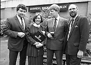 Canal Festival At Newry.  (R77)..1988..04.05.1988..05.04.1988..4th May 1988..Today saw the announcement of the details of the Guinness Canal Festival at Newry. The festival will incorporate the Ulster Final of the Rose of Tralee Contest. The festival, in its fourteenth year, promotes a warm friendly athmosphere with the emphasis on family entertainment. The Festival details were launched at the Guinness Reception Centre,Guinness Brewery, St James's Gate,Dublin...Picture shows (L-R) Mr J F Jamet, General Marketing Manager, Guinness, Northern Ireland; Mrs Maureen Grant,Festival Secretary; Mr Pat Barry, Corporate Affairs Manager and Mr Kevin McCarry, Chairman, Guinness Canal Festival, Newry at the launch in Guinness Brewery.