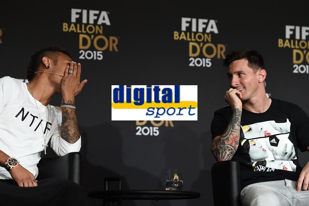 Zurich (Svizzera) 11/01/2016 - Fifa Ballon d'Or 2015 Pallone d'Oro / foto Matteo Gribaudi/Image Sport/Insidefoto<br /> nella foto: Neymar, Lionel Messi