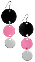 black and white and pink and silver circle earrings