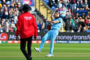 Wicket - Ben Stokes of England celebrates taking the wicket of Mohammad Saifuddin of Bangladesh during the ICC Cricket World Cup 2019 match between England and Bangladesh the Cardiff Wales Stadium at Sophia Gardens, Cardiff, Wales on 8 June 2019.