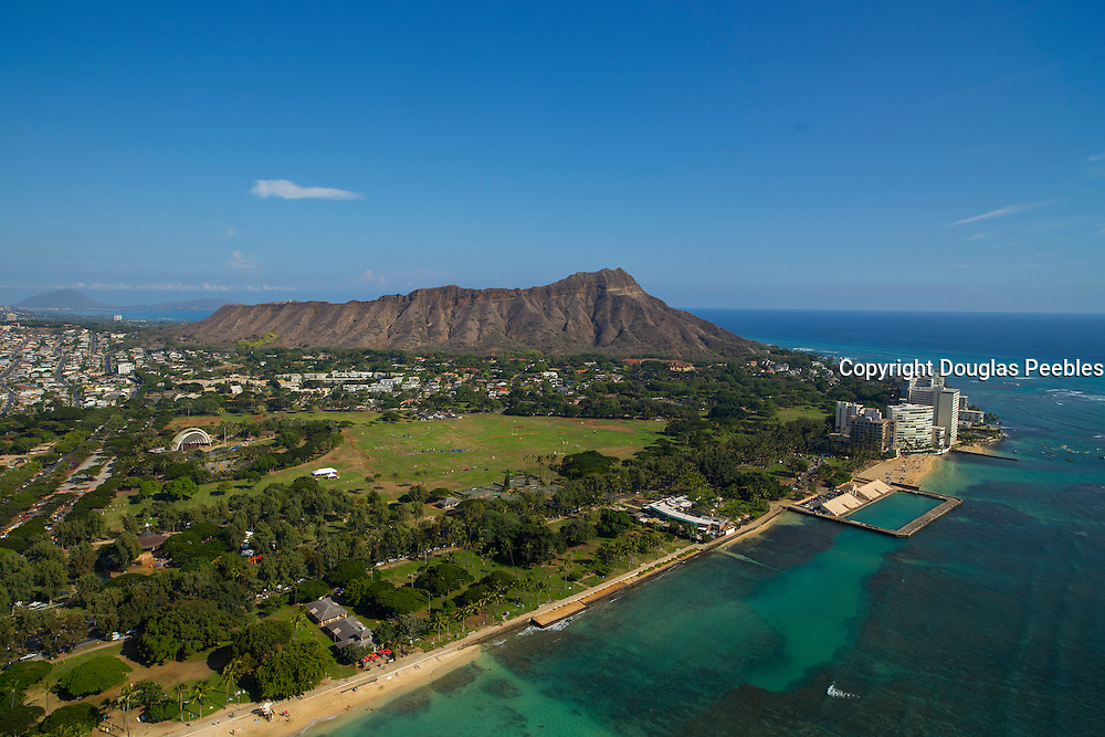 Diamond Head, Waikiki, Honolulu, Oahu, Hawaii, aerial
