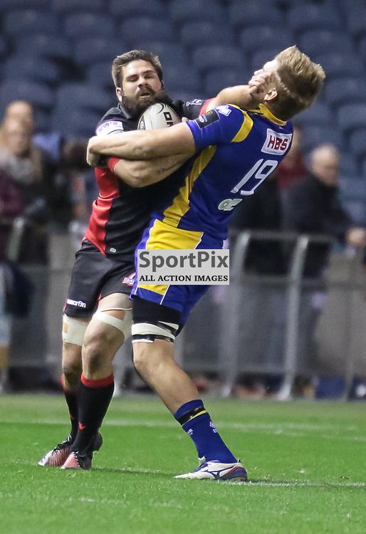 Edinburgh #20. Cornell Du Preez bashes his way past Zebre #19 Federico Ruzza.  Edinburgh Rugby v Zebre,  28th October 2016