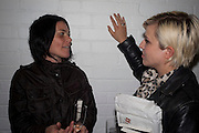 SUE WEBSTER; HANNA HANRA, David Salle private view at the Maureen Paley Gallery. 21 Herlad St. London. E2. <br /> <br />  , -DO NOT ARCHIVE-&copy; Copyright Photograph by Dafydd Jones. 248 Clapham Rd. London SW9 0PZ. Tel 0207 820 0771. www.dafjones.com.