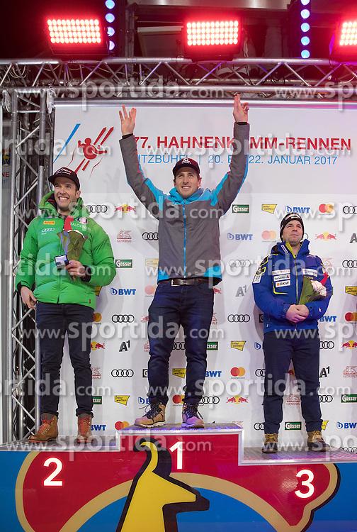 20.01.2017, Hahnenkamm, Kitzbühel, AUT, FIS Weltcup Ski Alpin, Kitzbuehel, Super G, Herren, Siegerehrung, im Bild v.l. Christof Innerhofer (ITA, 2. Platz), Matthias Mayer (AUT, 1. Platz), Beat Feuz (SUI, 3. Platz) // f.l. second placed Christof Innerhofer of Italy race winner Matthias Mayer of Austria third placed Beat Feuz of Switzerland during the winner Ceremony for the men's SuperG of FIS Ski Alpine World Cup at the Hahnenkamm in Kitzbühel, Austria on 2017/01/20. EXPA Pictures © 2017, PhotoCredit: EXPA/ Johann Groder