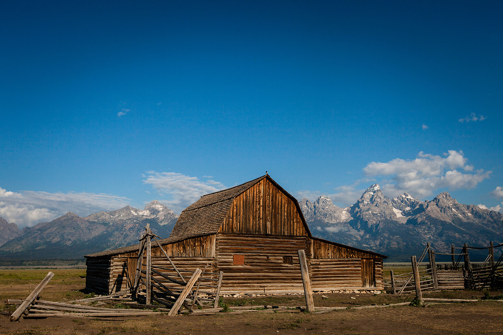 Mormon Row and The high peaks (The Three Tetons) Middle Teton, Grand Teton and Mount Owen, Grand Teton National Park, Wyoming, United States