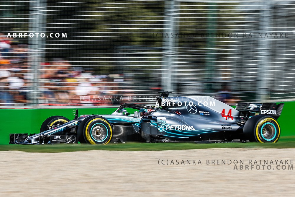 Mercedes driver Lewis Hamilton of Britain during the 2018 Rolex Formula 1 Australian Grand Prix at Albert Park, Melbourne, Australia, March 24, 2018.  Asanka Brendon Ratnayake