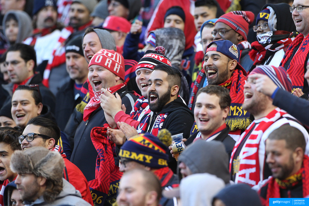 New York Red Bulls fans in action during the New York Red Bulls Vs D.C. United, Major League Soccer regular season opening match at Red Bull Arena, Harrison, New Jersey. USA. 22nd March 2015. Photo Tim Clayton