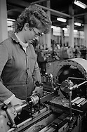 Centre lathe turner, Laycocks. Women in Manual Trades.