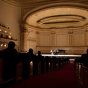 November 7, 2012 - New York, NY : Violinist Midori, left, and pianist Özgür Aydin perform in the Stern Auditorium / Perelman Stage at Carnegie Hall on Wednesday night. CREDIT: Karsten Moran for The New York Times