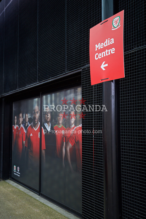 DINARD, FRANCE - Wednesday, June 22, 2016: Branding outside the Wales media centre in Dinard during the UEFA Euro 2016 Championship. (Pic by David Rawcliffe/Propaganda)