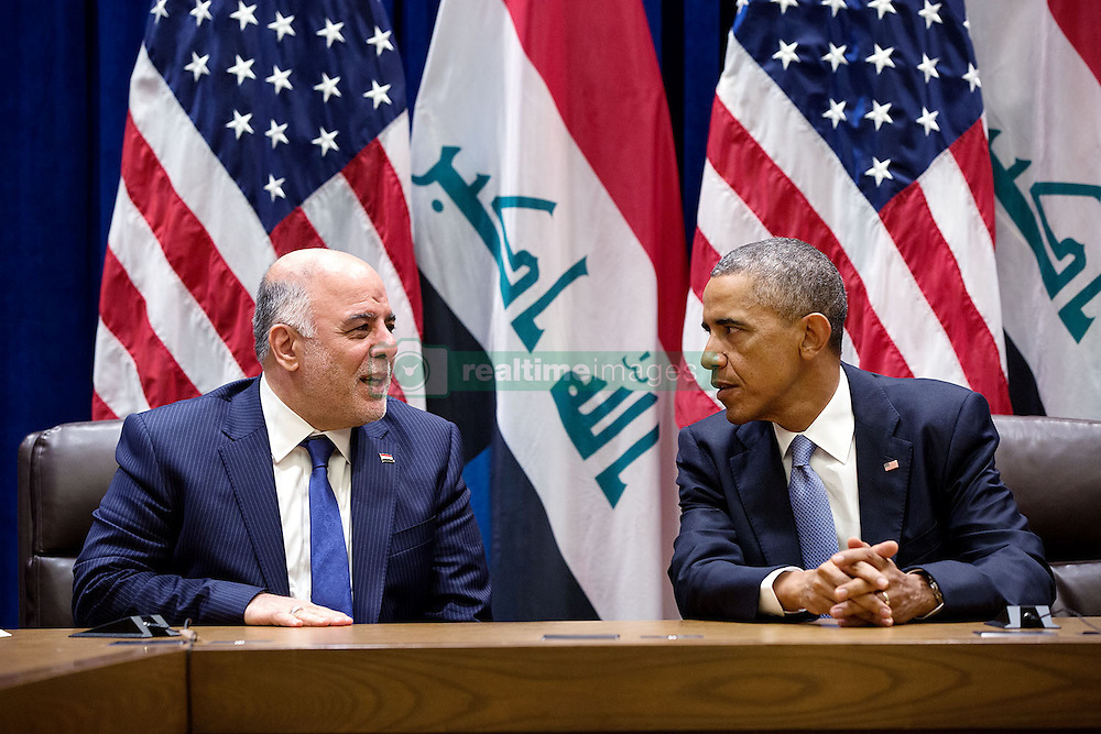 President Barack Obama talks with Prime Minister Haider al-Abadi of Iraq after they hold a bilateral meeting at the United Nations in New York, N.Y., Sept. 24, 2014. (Official White House Photo by Pete Souza)<br /> <br /> This official White House photograph is being made available only for publication by news organizations and/or for personal use printing by the subject(s) of the photograph. The photograph may not be manipulated in any way and may not be used in commercial or political materials, advertisements, emails, products, promotions that in any way suggests approval or endorsement of the President, the First Family, or the White House.